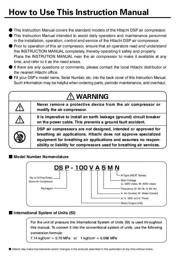 hitachi screw compressor service manual