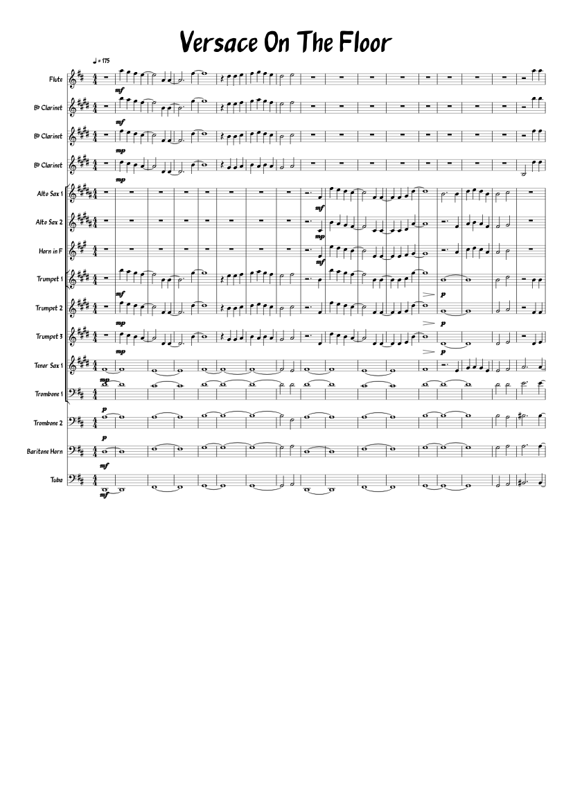 Versace on the floor piano sheet pdf