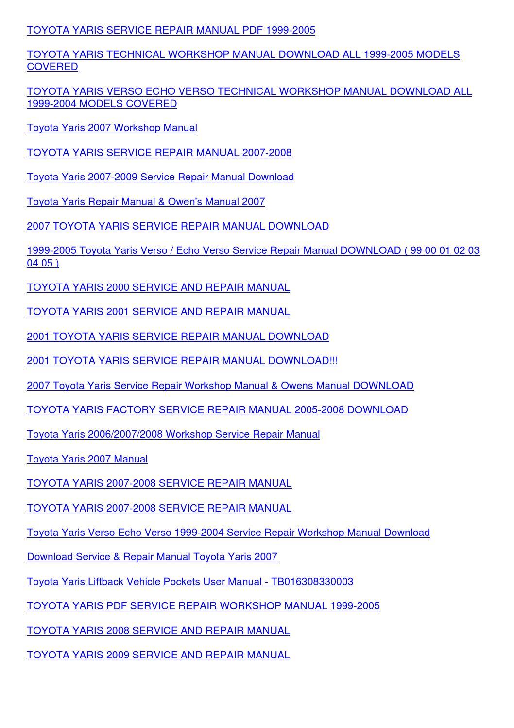 Toyota yaris 2004 service manual pdf