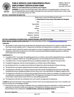 Public service loan forgiveness application form