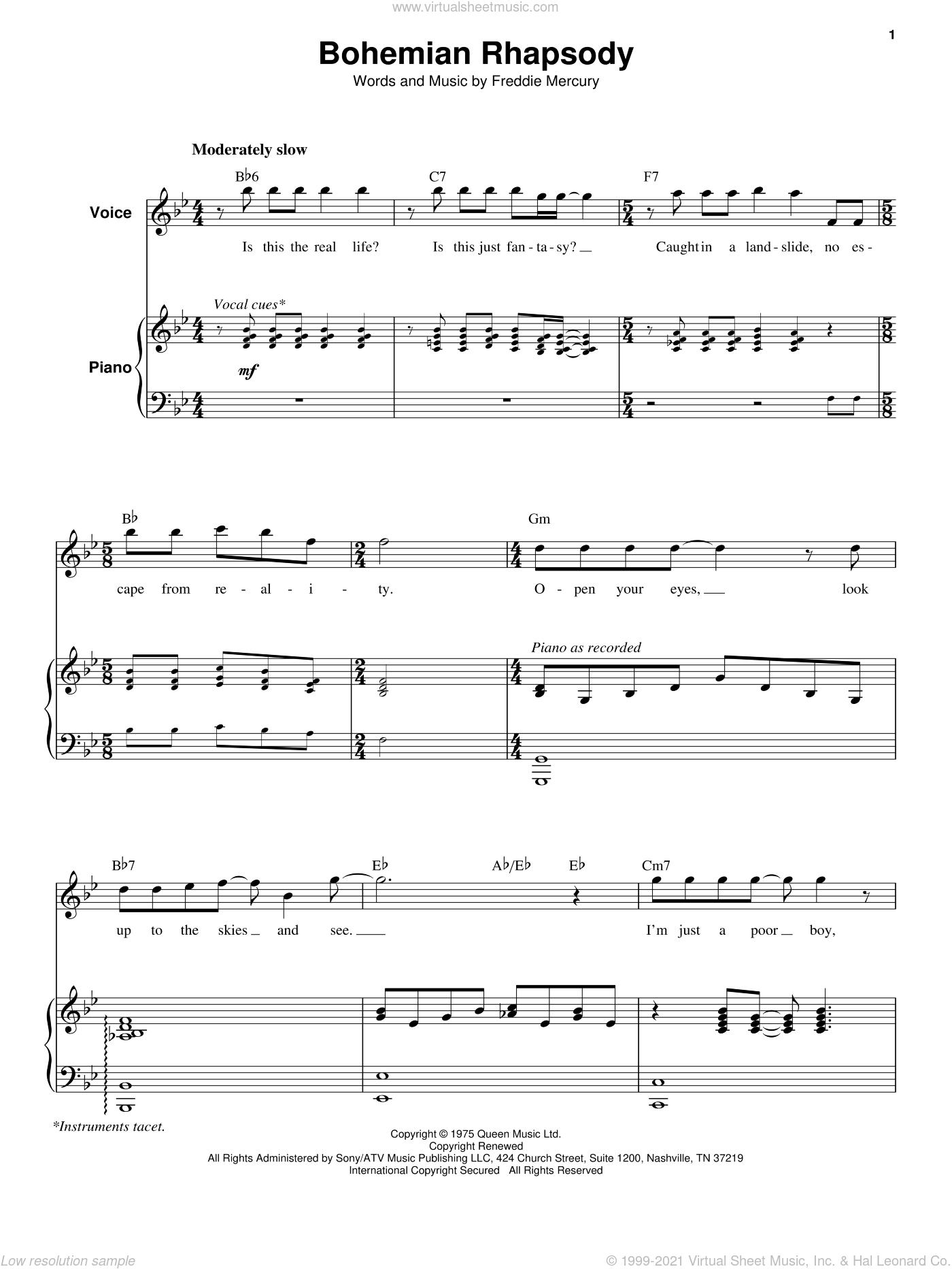 Bohemian rhapsody piano accompaniment pdf