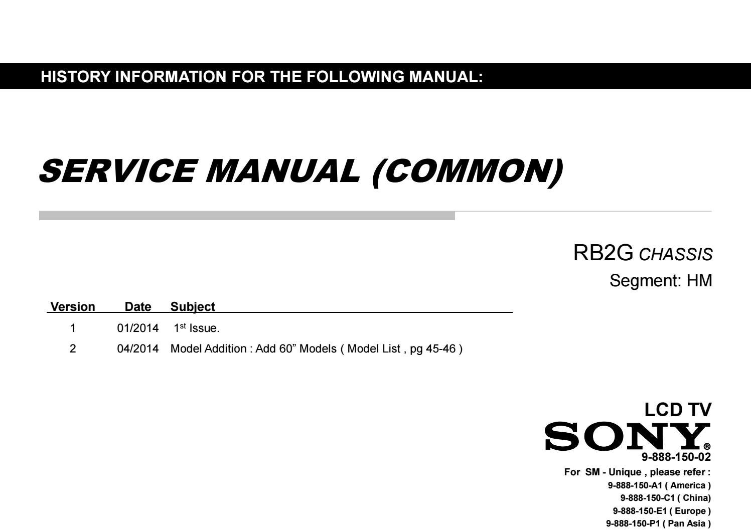 Sony kdl60w630b user manual