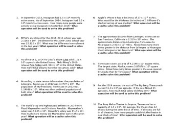 Scientific notation word problems pdf