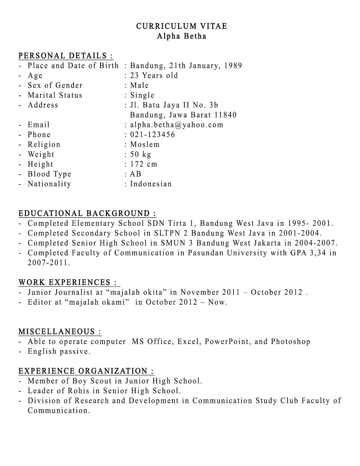 Contoh cv dalam bahasa inggris pdf