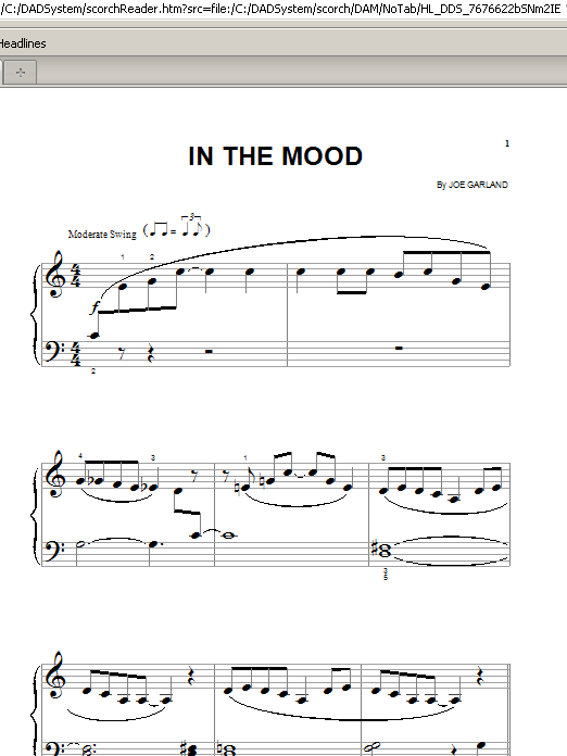 In the mood piano solo pdf