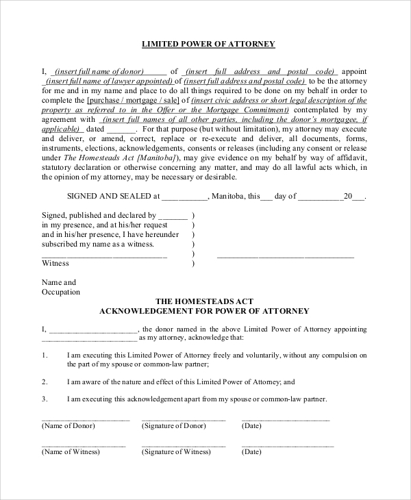 Limited power of attorney form pdf